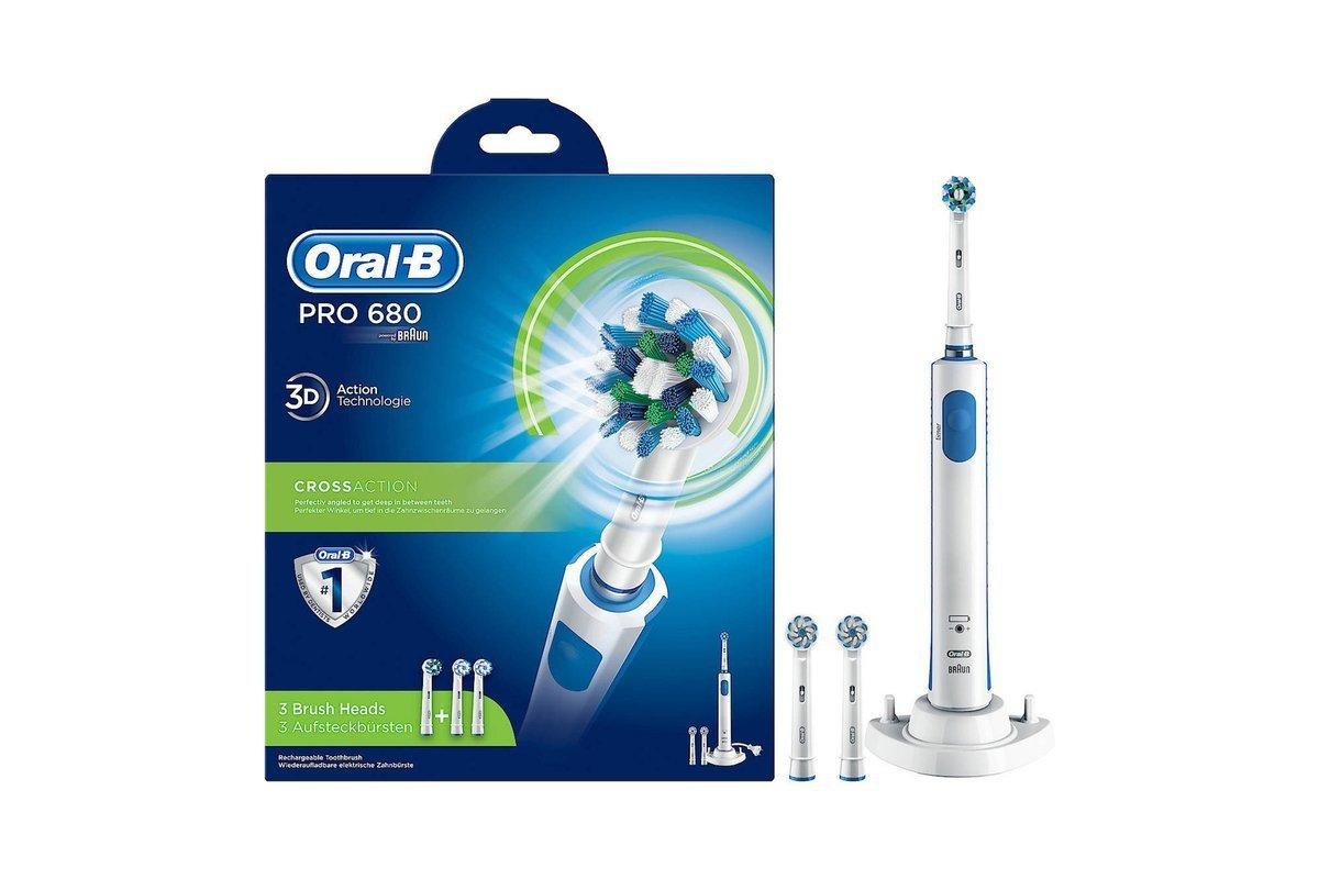 Electric Toothbrush Braun Oral-B Pro 600 680 3D + 3 Brush Heads Cross Action