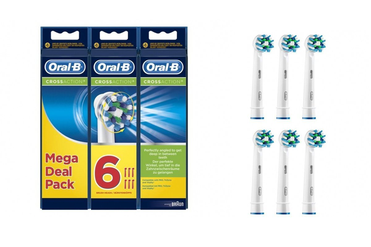 New Original Oral-B 6 x Replacement Brush Heads Cross Action EB50-6 White EB50