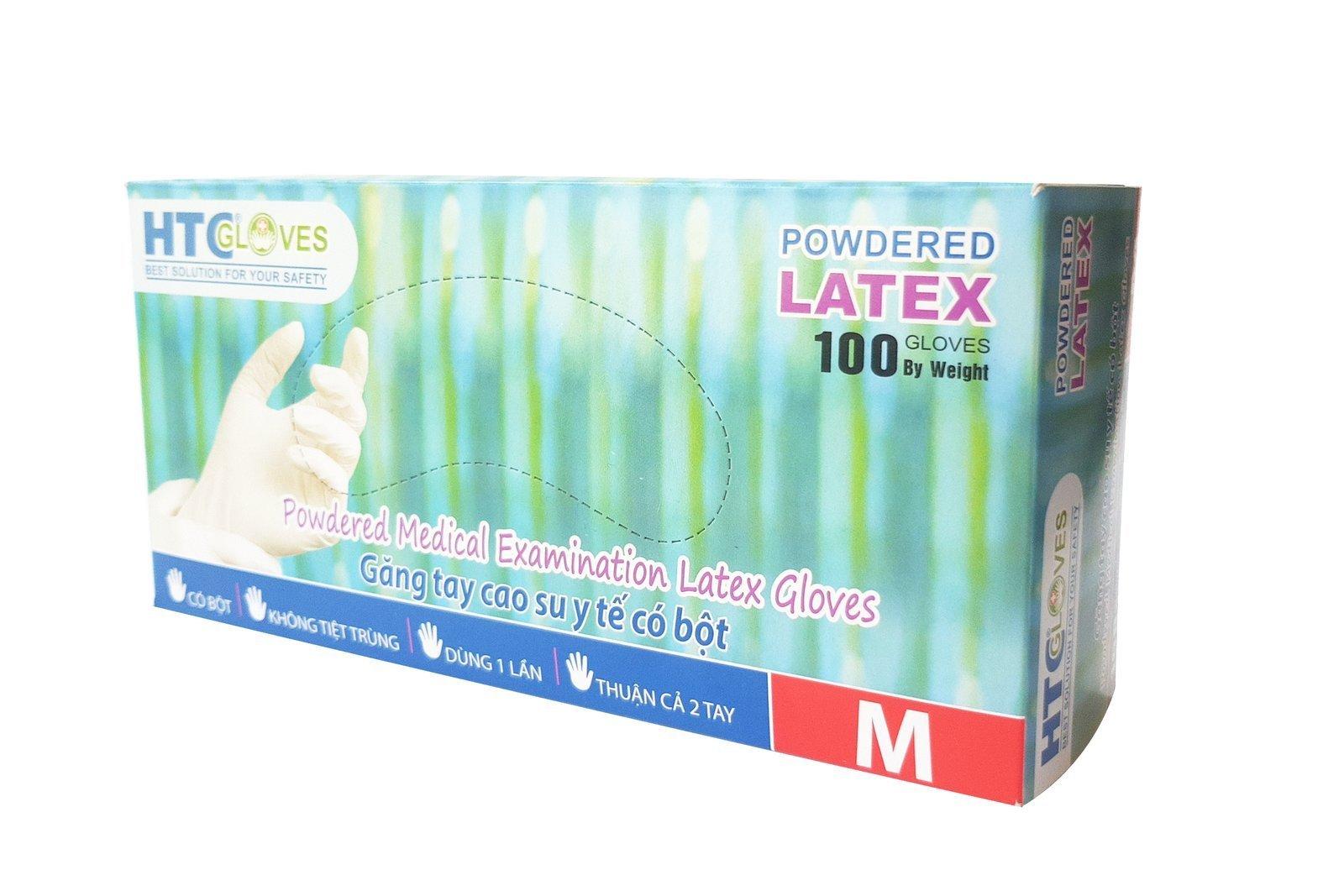 HTCGloves Medical gloves Latex Powdered Size M 100 pcs