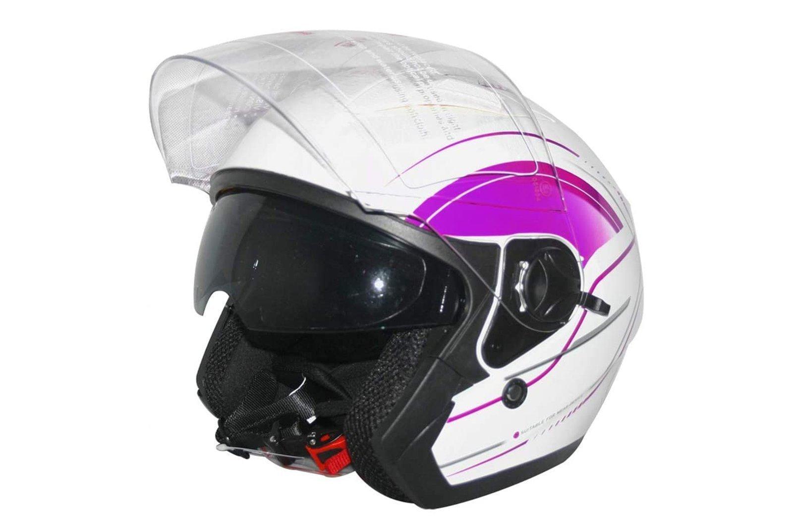 Motorcycle Leopard LEO608 Helmet Open Face Purple Graphite Size L