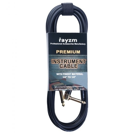 """RAYZM Instrument Cable 5m Noiseless Guitar / Bass Cable 1/4"""" 6.25mm Jack"""